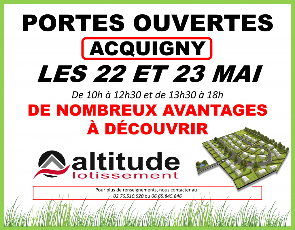 Porte Ouverte Acquigny 27 terrain a batir eure altitude lotissement